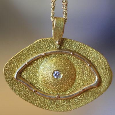 24K and 18K gold with Diamond evil eye pendant-Natalie Barat Design