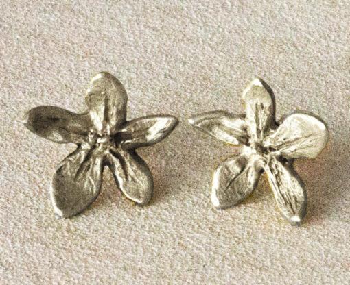 silver flower power earrings -Natalie Barat Design