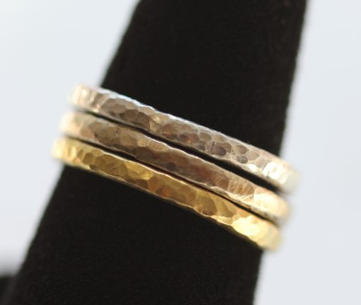 3 hammered bands-on a ring stand