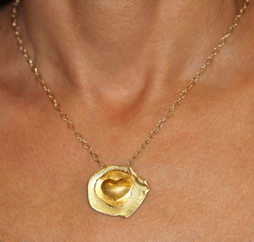 Emerging heart 24K and 14K gold pendant-Natalie Barat Design