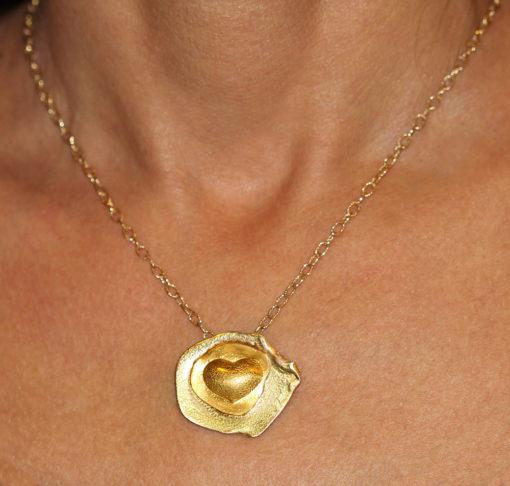 Emerging heart 24K and 14K gold pendant-Natalie Barat Design