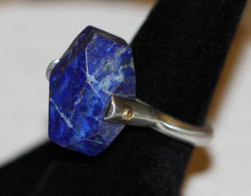 Lapis 24K riveted silver ring-Natalie Barat Design
