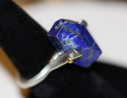 Lapis 24K riveted silver ring-Natalie Barat Design
