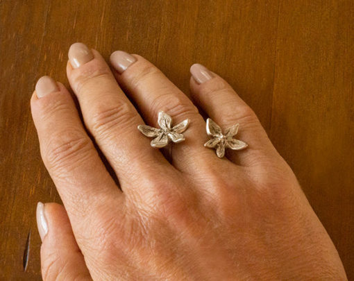 flower power silver in between finger ring-Natalie Barat Design