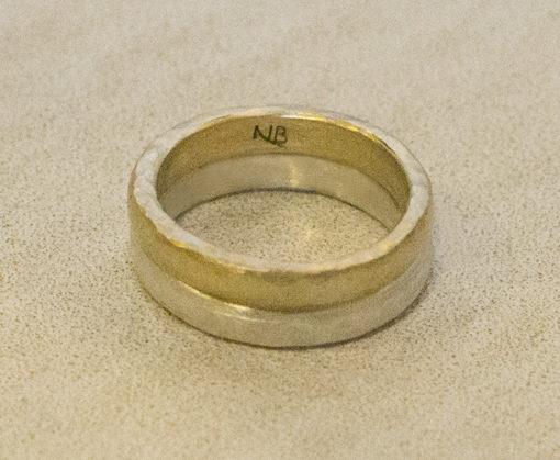 hammered gold and silver bands-Natalie Barat Design