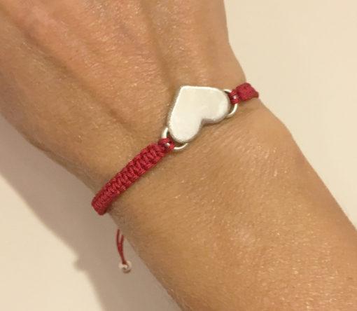 silver heart bracelet -red-Natalie Barat Design
