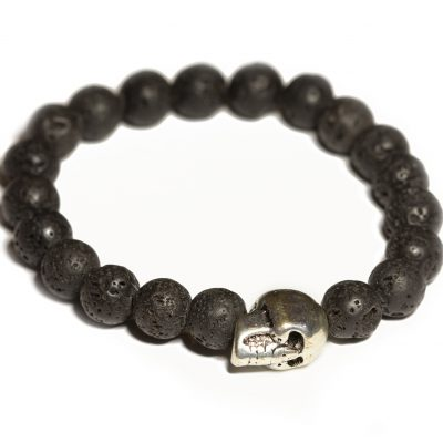 Skull and lava stones bracelet