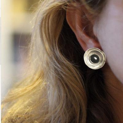 black pearl sterling earrings-Natalie Barat Design