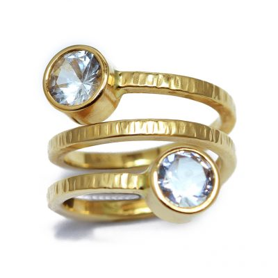 Spiral 18K gold and white Sapphires ring -Natalie Barat Design