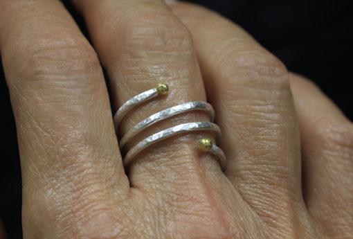 spiral-ring-24K-SS-on-finger-Natalie Barat Design