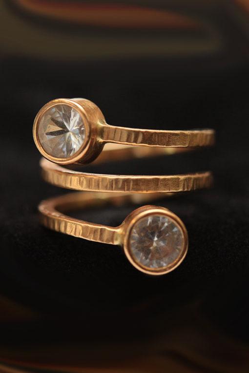 Spiral 18K gold and white Sapphires ring -Natalie Barat Design