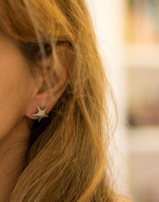silver star earrings-Natalie Barat Design