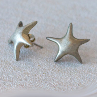 silver stars earrings-Natalie Barat Design