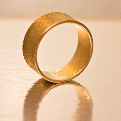 wide textured gold band-Natalie Barat Design