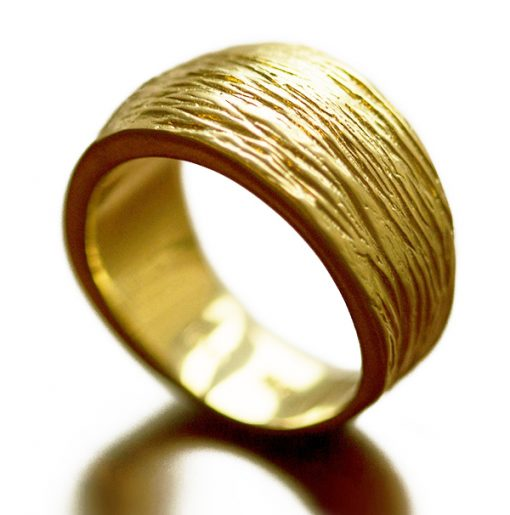 Wide textured 18K gold band