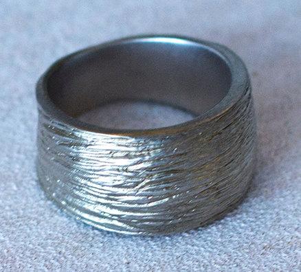 wide-textured- silver band-Natalie Barat Design