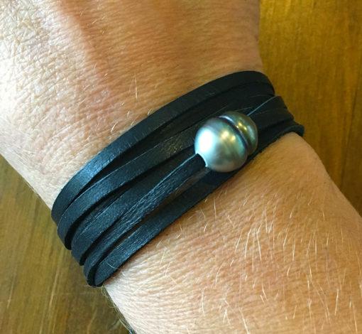 Tahitian pearl wrap choker-wrap bracelet