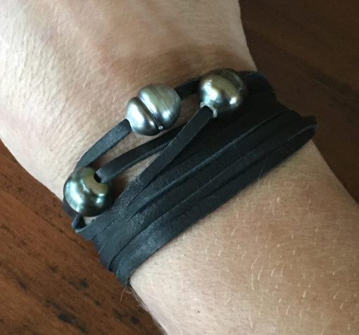 Tahitian triple pearl choker / wrap bracelet