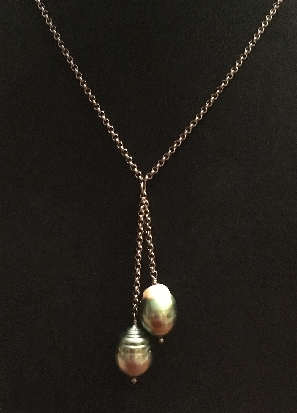 2 drop Tahitian Pearl necklace   Natalie Barat Design