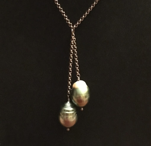 two drop Natural Tahitian pearl necklace