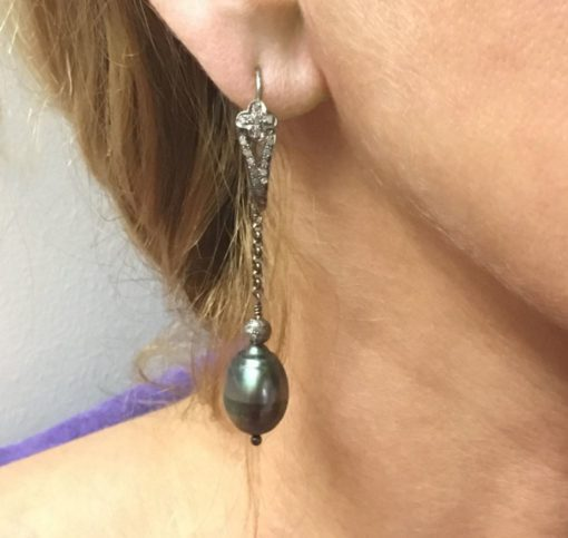 Tahitian Pearl-Pave Diamond-earrings