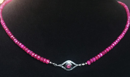 pink sapphire and diamond evil eye necklace-Natalie Barat Design
