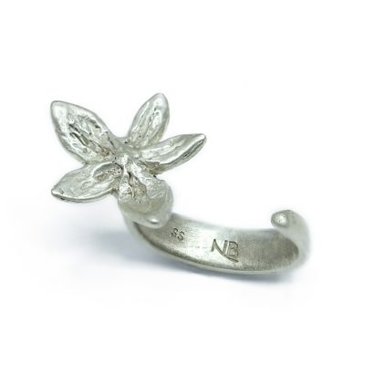Single flower silver ring-Natalie Barat Design