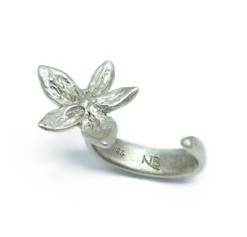 Single flower silver ring-Natalie Barat Design