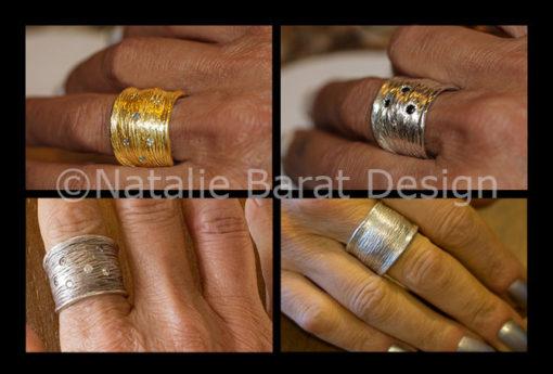 wide textured band combo-Natalie Barat Design