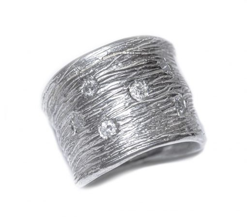 wide band ring with 7 salt and pepper diamonds-Natalie Barat Design