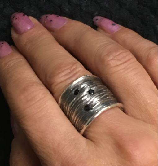 wide textured band with black diamonds-Natalie Barat Design
