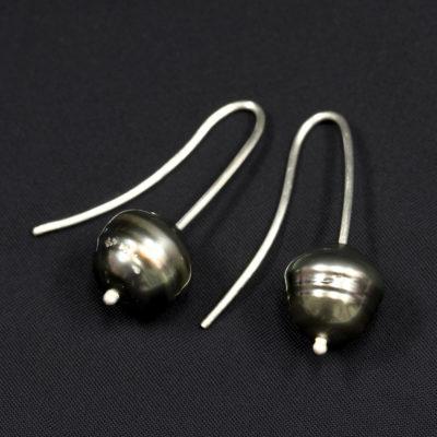 Tahitian-Pearl-silver earrings-Natalie Barat Design