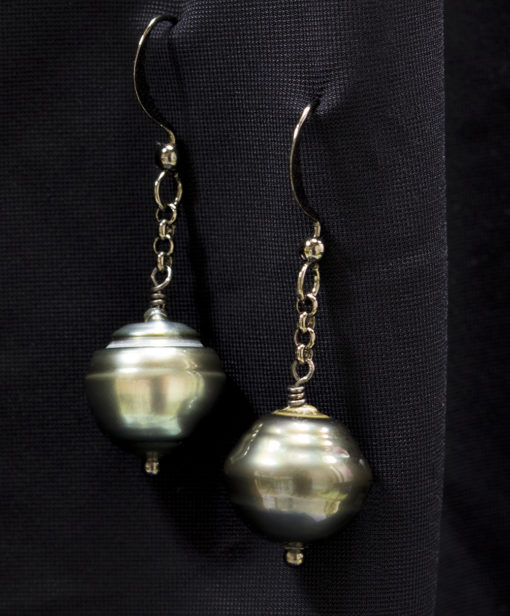 Tahitian Pearl earrings with gunmetal chain and ear post
