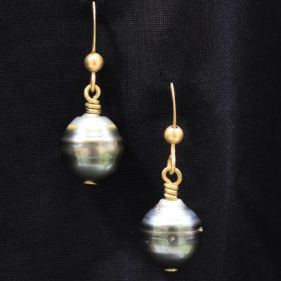 Tahitian-Pearl-gold plated earrings
