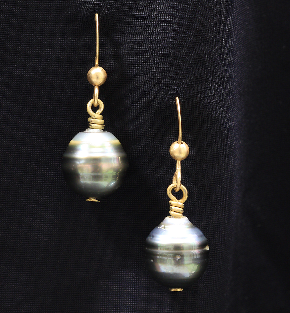 a708564ae Tahitian pearl and Matt gold plated earrings   Natalie Barat Design