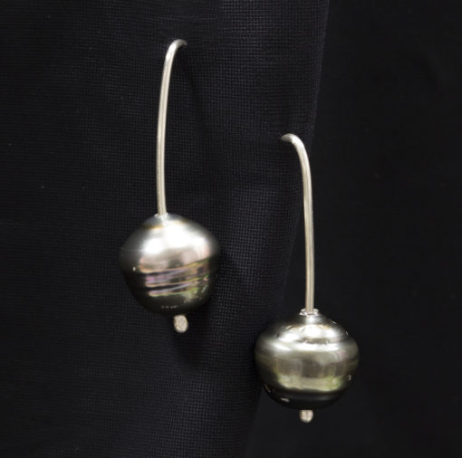 Tahitian-Pearl-silver earrings-Natalie Barat Design