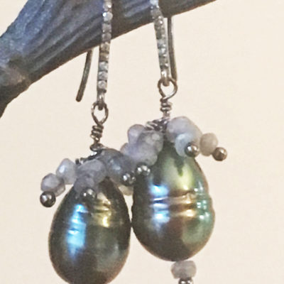 Tahitian pearl earring with pave diamond post and Labradorites