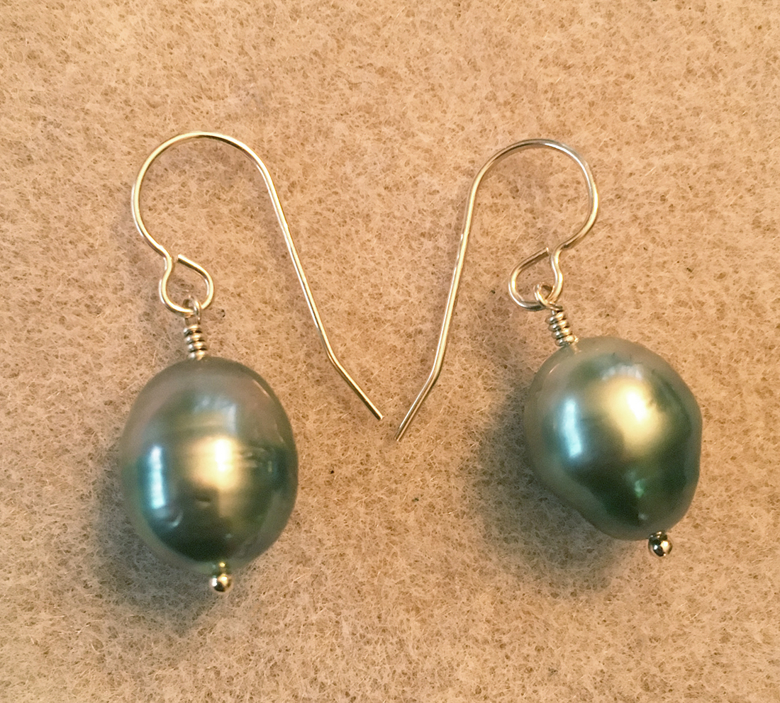 df71b8c6e Tahitian gray silver pearl earrings gold plated silver post ...