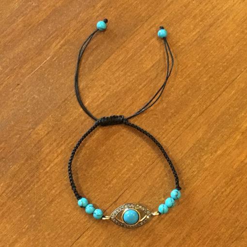 evil eye-turquoise and pave diamonds bracelet