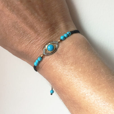evil eye-turquoise and pave diamonds bracelet