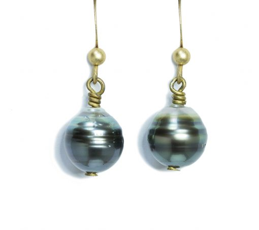Tahitian-Pearl-gold plated earrings