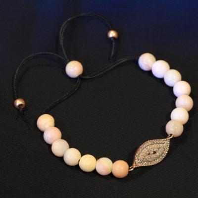 Pink Opal evil eye bracelet