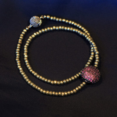 Natural Pyrite and pave CZ choker/ wrist wrap