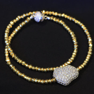 golden Hematite silver pave diamond CZ magic bean