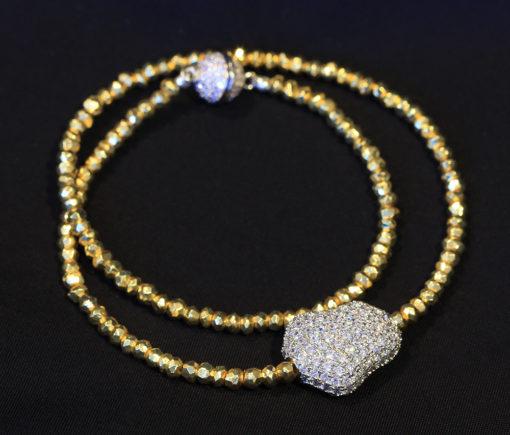 golden Hematite silver pave diamond CZ magic bean
