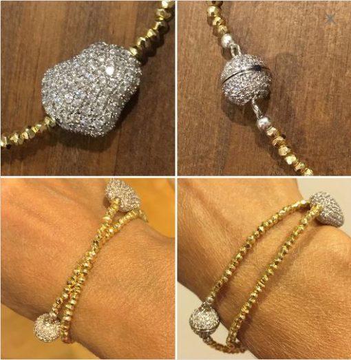 different views of the Hematite choker/wrist wrap