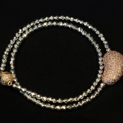 Hematite & pave CZ double wrist wrap or choker