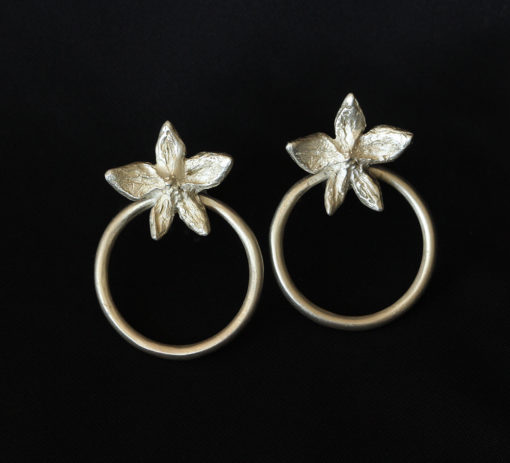 Flower Power hoop silver earrings-Natalie Barat Design