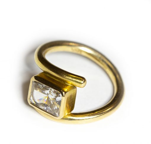 18K yellow gold & white Sapphire ring-Natalie Barat Design