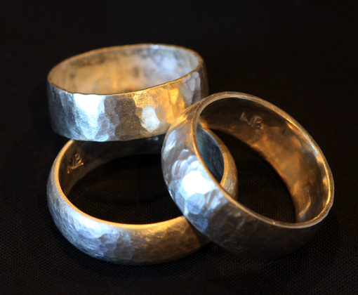 Natalie Barat-sterling silver hammered bands